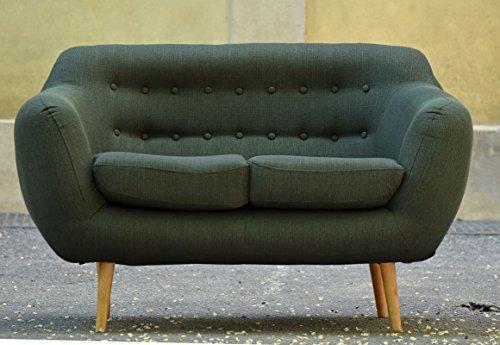 Retro Sofa Indigo 2-Sitzer Stoff Forest