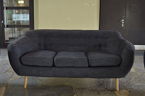 Retro Sofa Indigo 3-Sitzer Stoff Kohlefarben