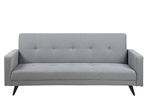 Schlafsofa in grauem Webstoff, Knopfsteppung in Sitz und Rücken, Echtholzbeine dunkelbraun, Maße: B/H/T ca. 217/92/89 cm