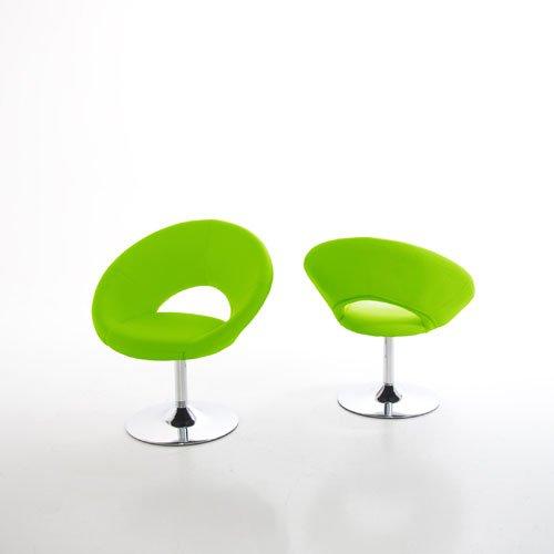 Sessel KLUNK im Retro-Design Kunstleder hellgrün 360° drehbar Fuß Chrom