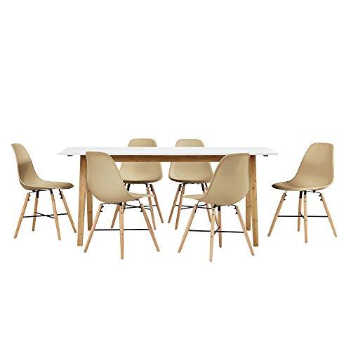 [en.casa] Esstisch Bambus weiß mit 6 Stühlen beige 180x80cm Esszimmer Essgruppe Küche
