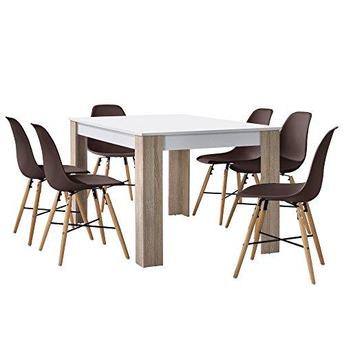[en.casa] Esstisch Eiche weiß mit 6 Stühlen braun 140x90cm Esszimmer Essgruppe Küche Set