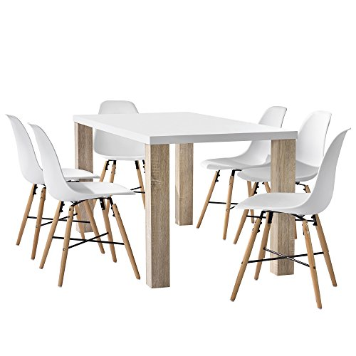 [en.casa] Esstisch Eiche weiß mit 6 Stühlen weiß 160x85cm Esszimmer Essgruppe Küche