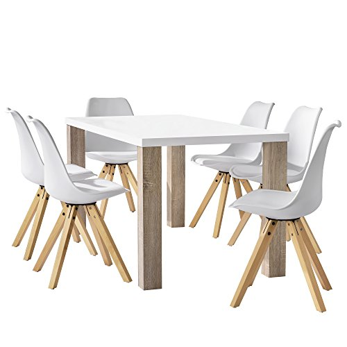 [en.casa] Esstisch Eiche weiß mit 6 Stühlen weiß gepolstert 160x85cm Esszimmer Essgruppe Küche