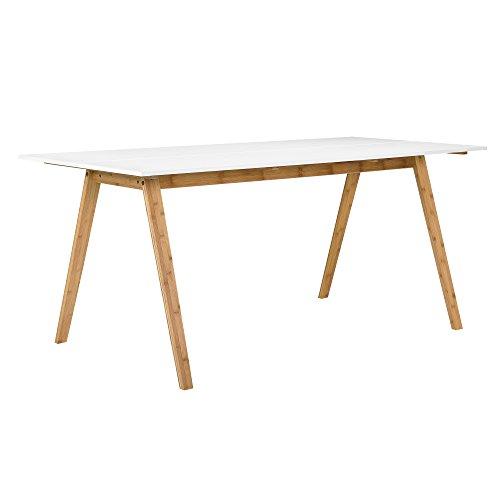 [en.casa] Esstisch aus echtem Bambus Tischplatte weiß lackiert 180x80cm Esszimmer Holz