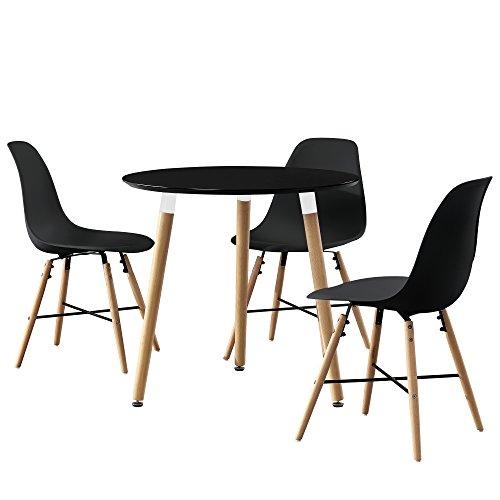 [en.casa] Esstisch rund schwarz [Ø80cm] mit 3 Stühlen schwarz Esszimmer Essgruppe Küche
