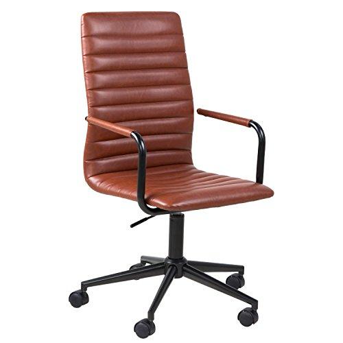 lounge-zone Bürostuhl Schreibtischstuhl Drehstuhl WIN Vintage Kunstleder Cognac Metallgestell 13600
