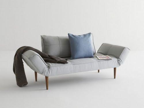 INNOVATION-Zeal Sofa Bett Grey Pacific Pearl / Dark Wood