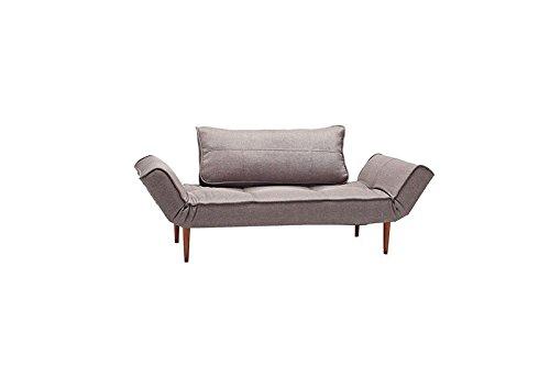 Innovation - Zeal Schlafsofa - dunkelgrau - Flashtex - Ulme hell, zylindrisch - Per Weiss - Design - Sofa
