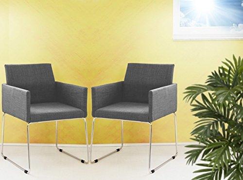 2er Set Konferenzstuhl Armlehnstuhl Stoffbezug in grau