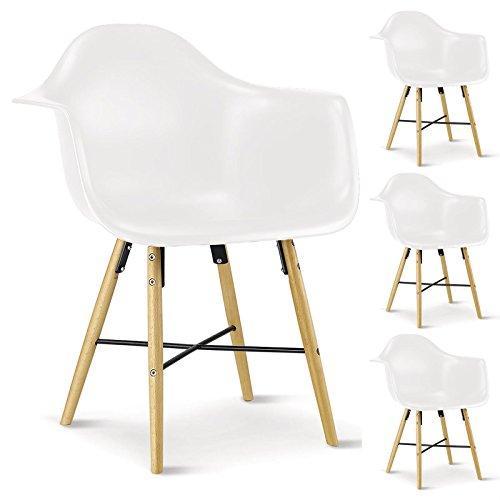 4er SET Esszimmerstuhl Design Konferenzstuhl EMILIO, aus Hartschale mit Armlehnen, in weiß