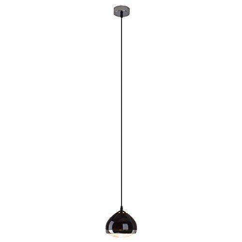 Brilliant 04370/06 Rider Pendelleuchte, 1-flammig, E14, 25 W, LED geeignet, Metall / Glas, schwarz