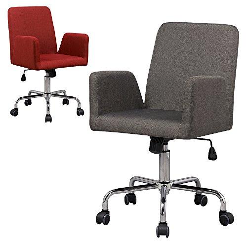 Bürostuhl / Drehstuhl Rudolf - Küchenstuhl - 360° drehbar - Arbeitsstuhl - Konferenzstuhl - Retro Look - Barstuhl - Esszimmerstuhl - Polsterstuhl - Stoffsessel (Grau)