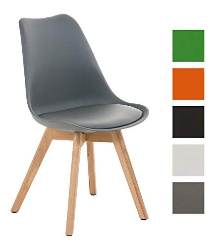 CLP Design Retro Stuhl BORNEO mit Holzgestell natura, Materialmix aus Kunststoff, Kunstleder und Holz, bis zu 5 Farben wählbar grau