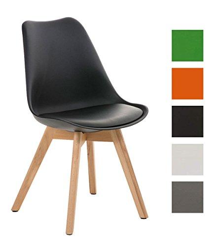 CLP Design Retro Stuhl BORNEO mit Holzgestell natura, Materialmix aus Kunststoff, Kunstleder und Holz, bis zu 5 Farben wählbar schwarz
