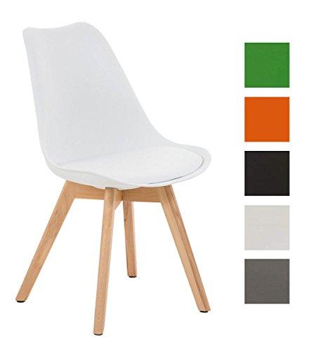 CLP Design Retro Stuhl BORNEO mit Holzgestell natura, Materialmix aus Kunststoff, Kunstleder und Holz, bis zu 5 Farben wählbar weiß