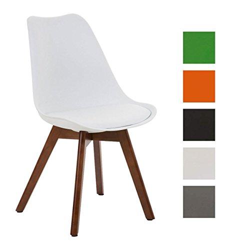 CLP Design Retro Stuhl BORNEO mit Holzgestell walnuss, Materialmix aus Kunststoff, Kunstleder und Holz, bis zu 5 Farben wählbar weiß
