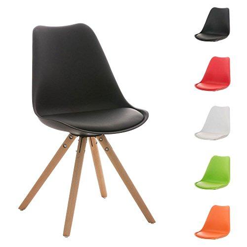 CLP Design Retro Stuhl PEGLEG mit Holzgestell natura, Materialmix aus Kunststoff, Kunstleder und Holz, bis zu 5 Farben wählbar schwarz