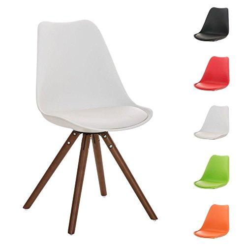 CLP Design Retro Stuhl PEGLEG mit Holzgestell walnuss, Materialmix aus Kunststoff, Kunstleder und Holz, bis zu 5 Farben wählbar weiß