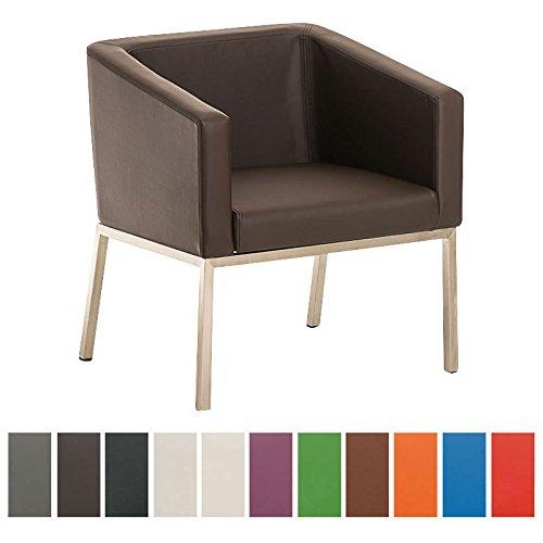 CLP Edelstahl Lounge-Sessel NALA im Retro-Stil, mit Armlehne, Polsterstärke 8 cm, bis zu 11 Farben wählbar, Sitzhöhe 44 cm braun