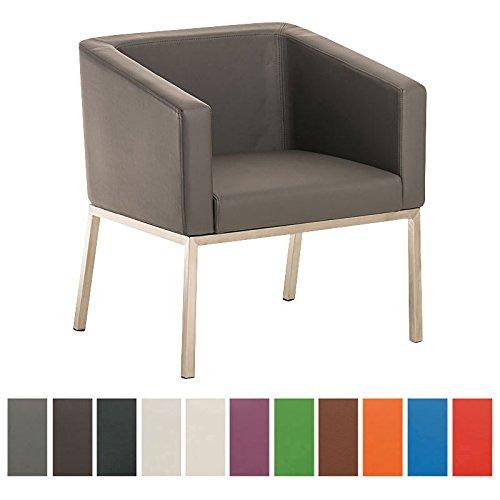 CLP Edelstahl Lounge-Sessel NALA im Retro-Stil, mit Armlehne, Polsterstärke 8 cm, bis zu 11 Farben wählbar, Sitzhöhe 44 cm grau