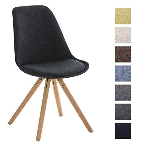 CLP Retro Stuhl PEGLEG mit Holzgestell natura und Stoffsitz, Besucherstuhl im stilvollen Design, FARBWAHL schwarz