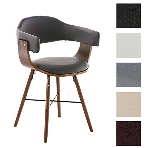 CLP moderner Besucherstuhl BARRIE V2, walnuss, mit Armlehne & gut gepolsterter Sitzfläche und Holzgestell - aus bis zu 5 Farben wählen grau