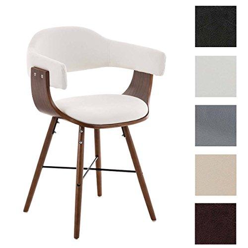 CLP moderner Besucherstuhl BARRIE V2, walnuss, mit Armlehne & gut gepolsterter Sitzfläche und Holzgestell - aus bis zu 5 Farben wählen weiß