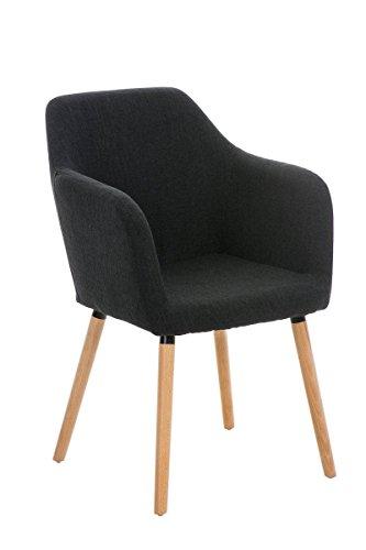 CLP moderner Besucherstuhl PICARD mit Holzgestell und gut gepolsterter Sitzfläche aus Stoff - FARBWAHL schwarz