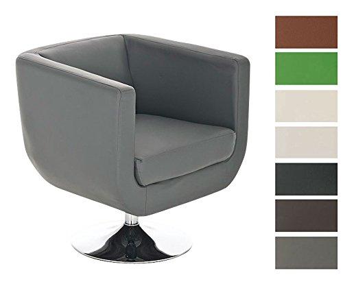 CLP runder Design Leder-Loungesessel COLORADO im Retro-Stil, drehbar, aus bis zu 7 Farben wählen grau