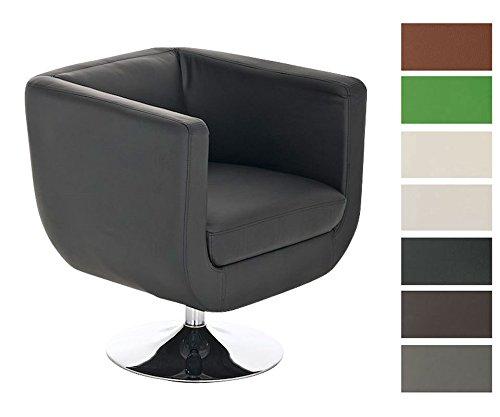 CLP runder Design Leder-Loungesessel COLORADO im Retro-Stil, drehbar, aus bis zu 7 Farben wählen schwarz