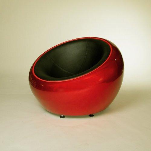 DESIGN LOUNGE BALL SCHALEN SESSEL retro möbel stuhl C12 rot-schwarz
