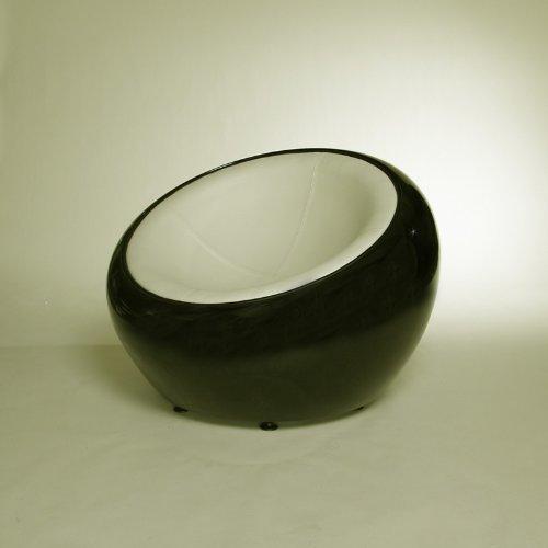 DESIGN LOUNGE BALL SCHALEN SESSEL retro möbel stuhl C12 schwarz-creme