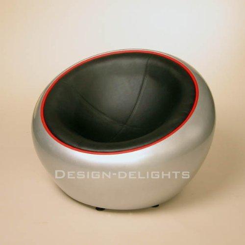 DESIGN LOUNGE BALL SCHALEN SESSEL retro möbel stuhl C12 silber-schwarz