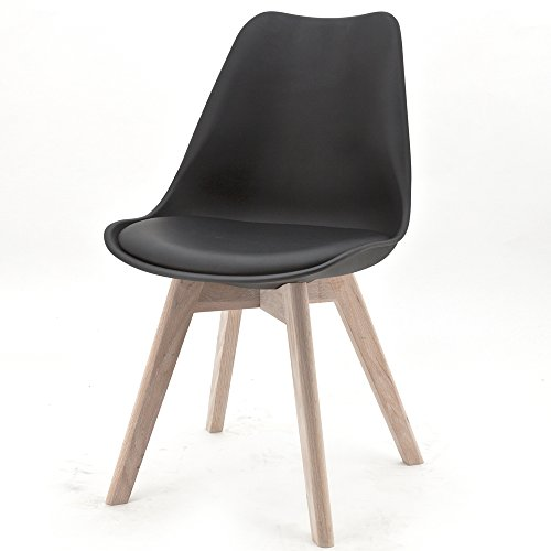Design Stuhl RANGE Kunststoffschale Esszimmerstuhl Retro Designer Möbel Stühle (4, Schwarz)