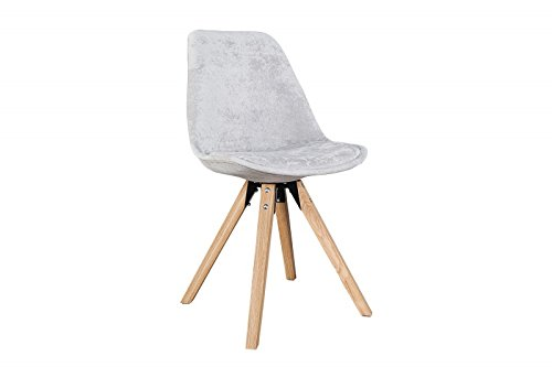 DuNord Design Stuhl Esszimmerstuhl NEW STOCKHOLM Strukturstoff grau Eiche Massiv Retro Design