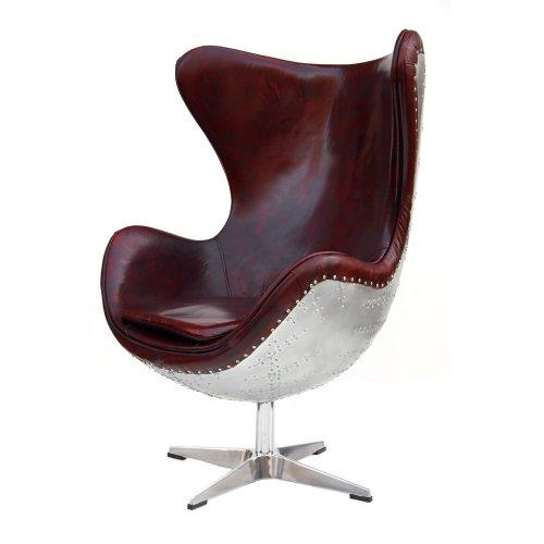 Echtleder Vintage Alu Sessel Retro Ledersessel Drehsessel Schwingsessel Design Lounge Egg Chair Clubsessel Sofa Möbel NEU 438