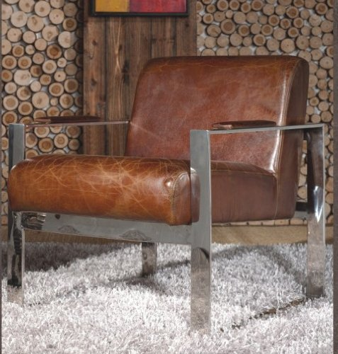 Echtleder Vintage Edelstahl Sessel Ledersessel Design Lounge Clubsessel Sofa Möbel NEU 445