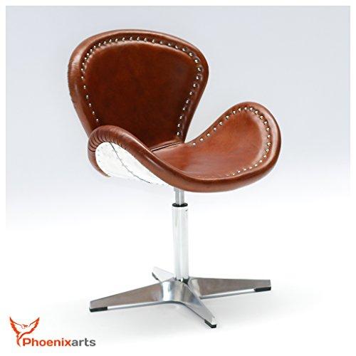 Echtleder Vintage Ledersessel Design Sessel Loft Drehsessel Lounge Clubsessel Möbel NEU 537