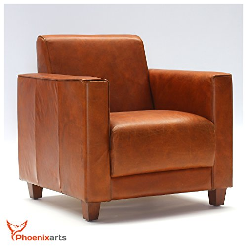 Echtleder Vintage Sessel Ledersessel Design Lounge Clubsessel Sofa Retro Loft Möbel NEU 541
