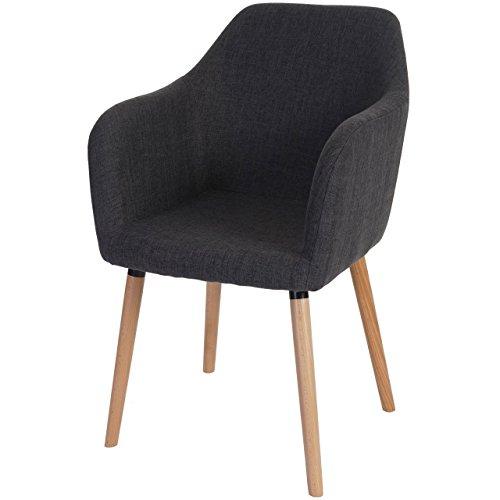 Esszimmerstuhl Malmö T381, Stuhl Lehnstuhl, Retro 50er Jahre Design ~ Textil, grau