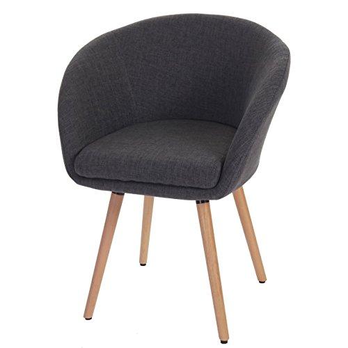 Esszimmerstuhl Malmö T633, Stuhl Lehnstuhl, Retro 50er Jahre Design ~ Textil, grau