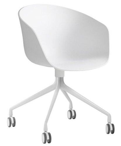 HAY About a Chair 24 Armlehn-Drehstuhl mit Rollen, weiß Gestell aluminium pulverbeschichtet weiß mit Soft-Rollen für alle Böden