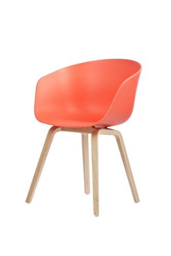 HAY Stuhl About a Chair AAC 22 - koralle - rot, Beine Eiche, Schale Polypropylen, Esszimmerstuhl - Küchenstuhl - Speisezimmerstuhl