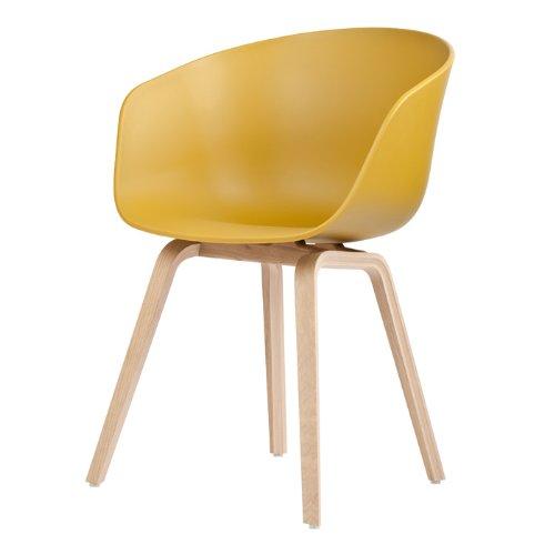 HAY Stuhl About a Chair AAC 22 - mustard, Beine Eiche, Schale Polypropylen, Esszimmerstuhl - Küchenstuhl - Speisezimmerstuhl