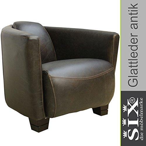 Ledersessel Dark Leder kolonial Schwarz | Loungesessel Clubsessel Design-Sessel