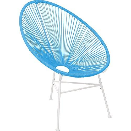 Loungestuhl türkisblau Kunststoffbespannung Schalenstuhl Sessel Clubsessel Retro