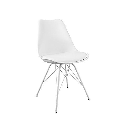 Moderner Design Stuhl SCANDINAVIA Meisterstück weiss lackierten Stuhlbeinen
