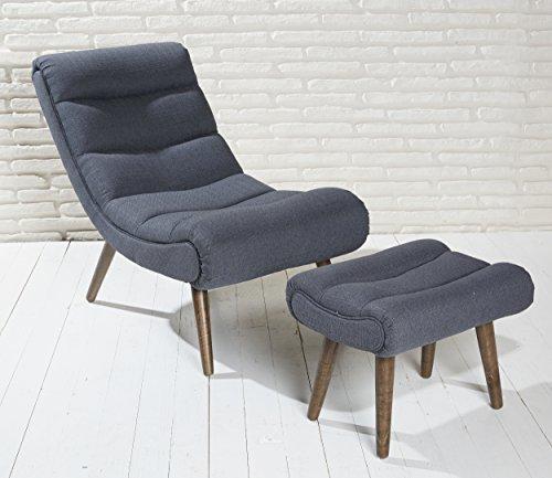Polstersessel dunkelgrau mit Hocker mit Holzbeinen Loungesessel Sessel Cocktailsessel Modern Relaxsessel