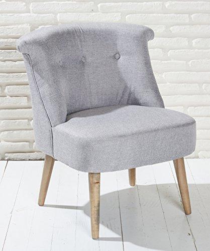 Polstersessel grau mit Holzbeinen Loungesessel Sessel Cocktailsessel Modern